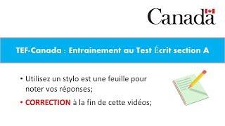 TEF-CANADA : Préparation 2 au Test de Compréhension Écrite section A