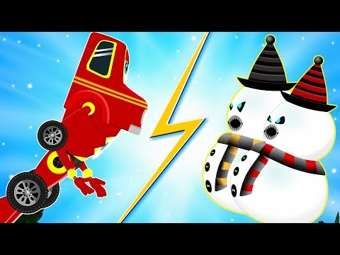 Red Super Car Ricky - A City Hero on a Mission to find Scary Snowman Chasing Kids - Christmas Song
