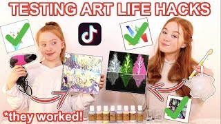 We Tested VIRAL TikTok Art Life Hacks *Amazing DIY Painting Tricks | Sis Vs Sis | Ruby and Raylee
