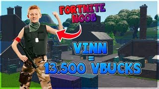 FORTNITE NOOB GETS * 13.500 VBUCKS * IF HE * WINS * a 1v1!!!