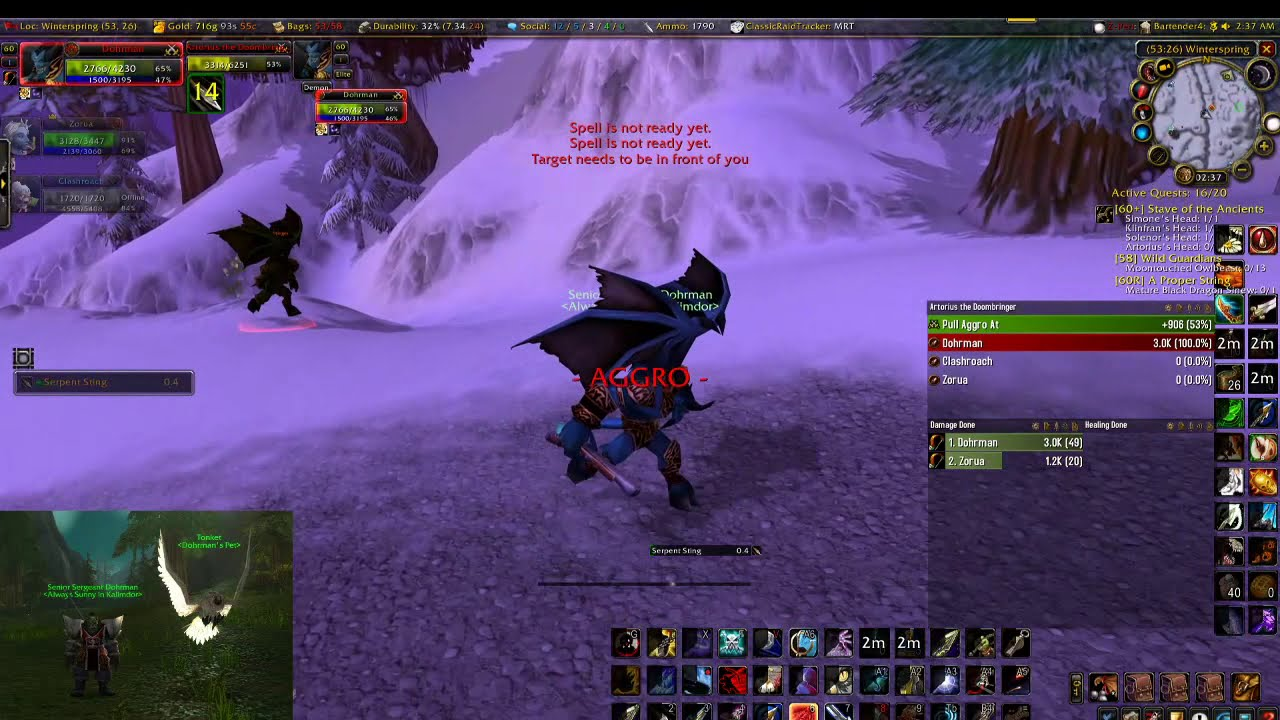 How To Kill Artorius The Doombringer Hunter Leaf Quest Wow Classic Youtube