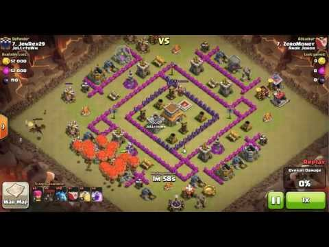 Clash of Clans Level 5 Balloons + Level 3 Minion - Town Hall 8 attack