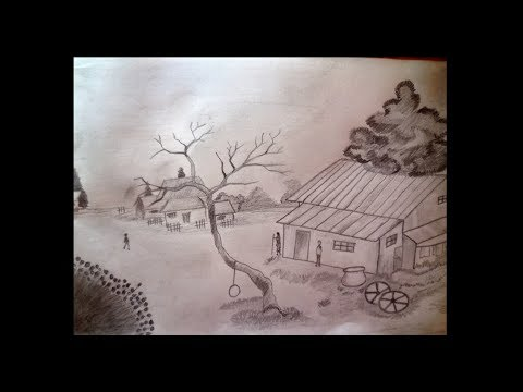 How to draw a Village Scenery Step by Step - Pencil Drawing  - ComeTube