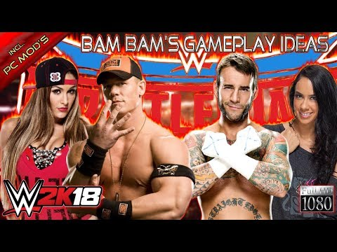 WWE 2K18 GAMEPLAY: John Cena & Nikki Bella VS. CM Punk & AJ Lee [PC Mods]