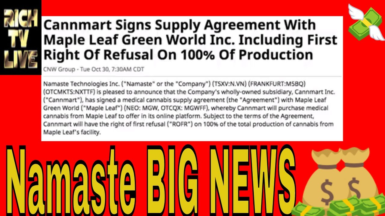 Namaste Technologies Breaking News Cannmart Signs Supply Agreement