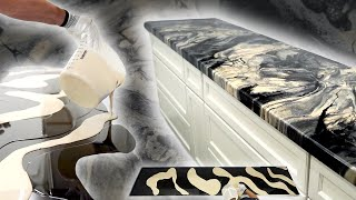 Pour Epoxy & Pigment Onto Existing Countertops To Resurface With BEAUTIFUL Marbled Coatings
