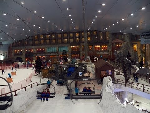 HD Ski Dubai Tour of Entire Place Ski Slope Rides Snow Park Avalanche Cafe Mall of Emirates UAE