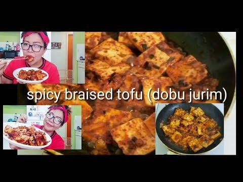 How to make korean spicy braised tofu (dobu jorim) mukbang/cookbang
