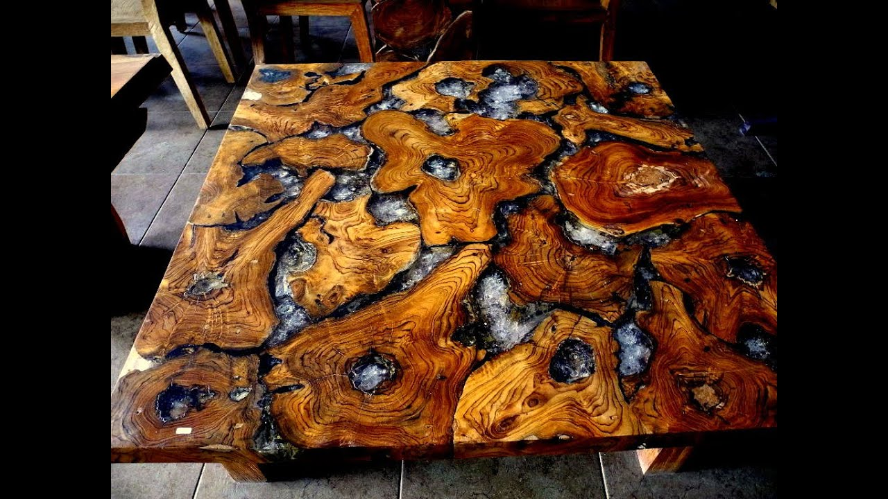 Cracked Resin Teak Coffee Table Youtube