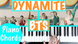 "How to play ""DYNAMITE"" - BTS 방탄소년단   Piano Chords Accompaniment Tutorial"