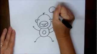 How To Draw A Monkey Step-by-Step Easy Cartoon Tutorial