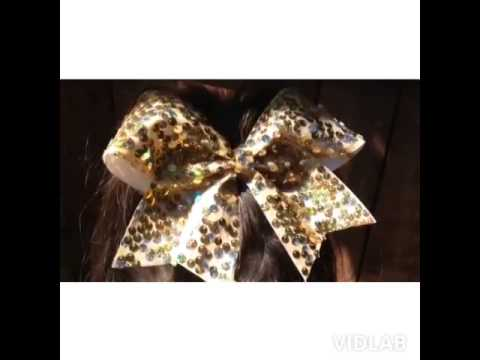 Glitzy Gold Sequin Cheer Bow