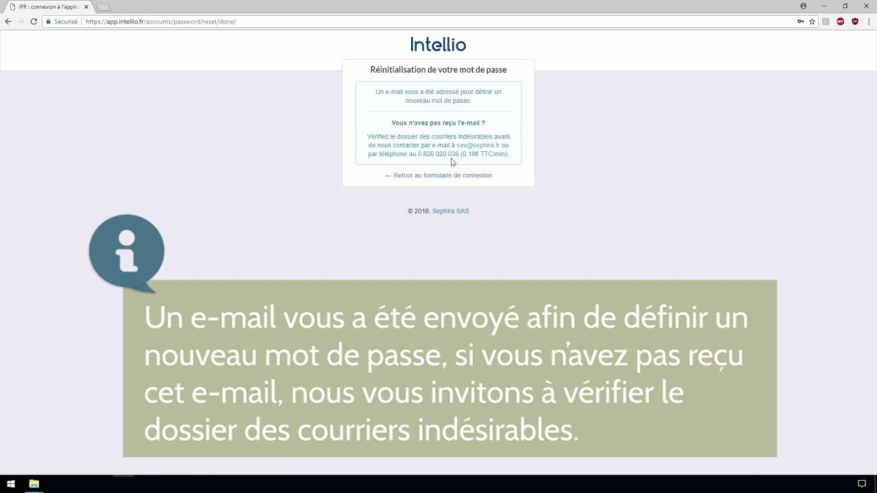 Intellio App réinitialisation mot de passe sur app.intellio.fr - youtube