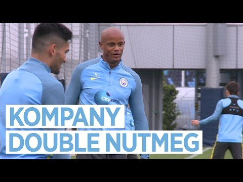 VINCENT KOMPANY DOUBLE NUTMEG! Manchester Derby Training