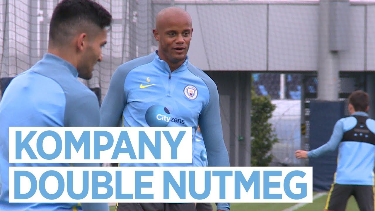 VINCENT KOMPANY DOUBLE NUTMEG Manchester Derby Training