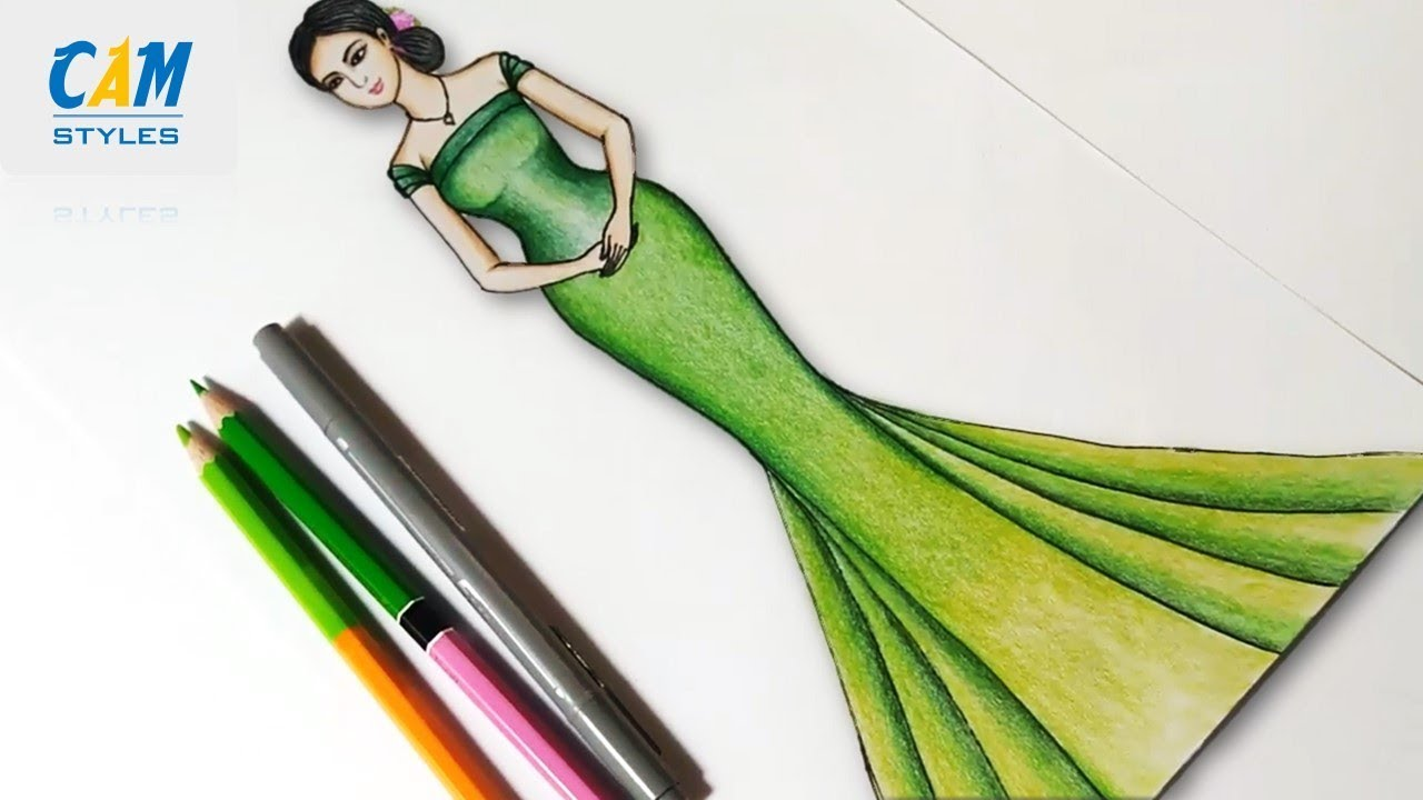 How To Draw A Dress For Beginners Drawing Dress Designs Easy Youtube