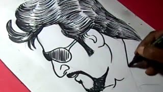 How to Draw Tamil SuperStar RAJNIKANTH DRAWING For Kids