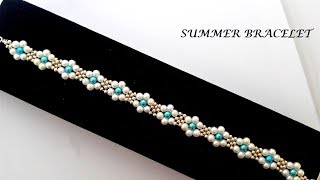 The simpliest summer bracelet pattern.  DIY beaded bracelet tutorial