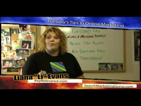 "Forums & Message Boards Online Marketing Tips by Liana ""Li"" Evans of KeyRelevance"