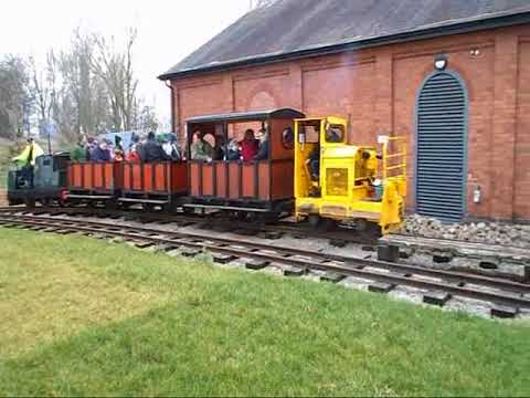 Leicester pumping station, narrow gauge diesels top  and tail