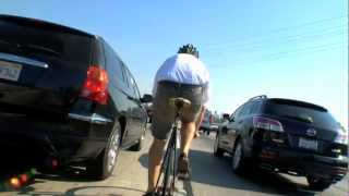 Fixed Gear Cyclist rides the Freeway