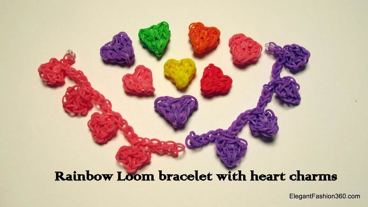 Rainbow Loom Heart Charms Bracelet  How To