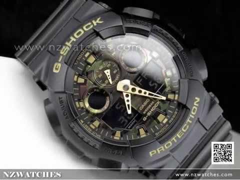 Casio G-Shock Camouflage Black Gold Analog Digital Display Watch GA-100CF-1A9 9c7a06919