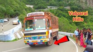 Valparai Hills;TN Govt Bus and Heavy Load Lorry Turning On 9/40 Hairpin bend