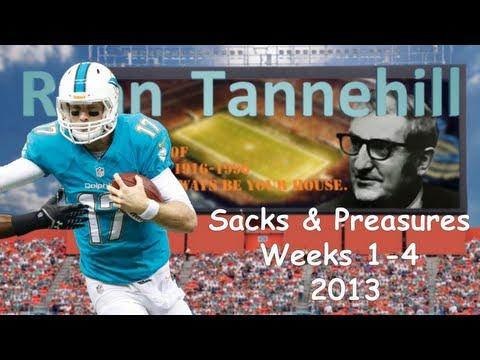 Ryan Tannehill Sacks & Pressures Weeks 1-4 2013
