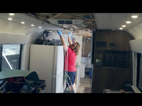 How to build a Bus Conversion S08Ep09 RV living area and kitchen finish and electrical work
