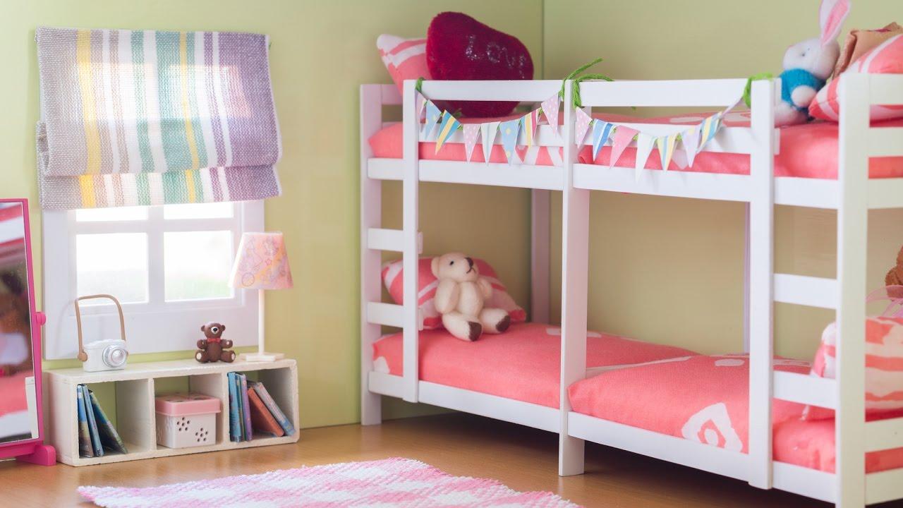 DIY Dollhouse Miniature Bunk Bed Room Set Tutorial