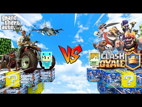 ISLA GTA 5 vs ISLA CLASH ROYALE 🌴💥 MINECRAFT BEBE MILO Y VITA JUEGAN CON LUCKY BLOCKS