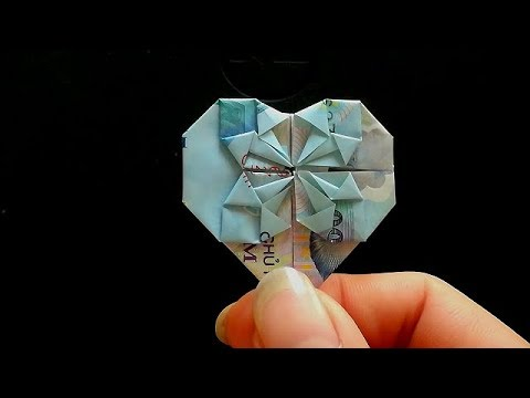 how to make a heart origami with money