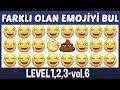 Lagu Farklı Olan Emojileri Bul: Zorluk seviyeleri 1,2,3  Emoji Bulmaca Yarışması
