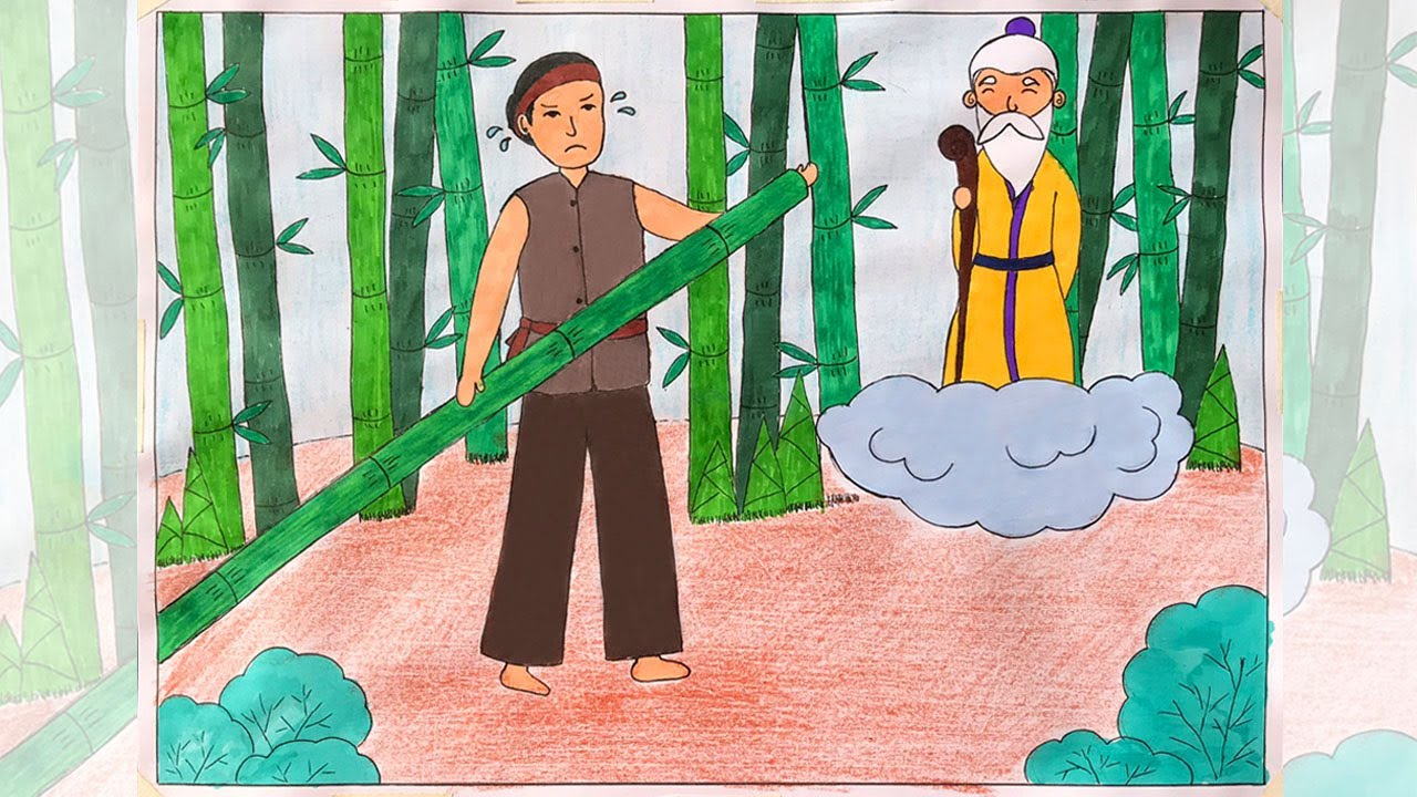 Vẽ tranh minh hoạ truyện cổ tích   Vẽ tranh truyện cổ tích   Vẽ truyện cổ  tích cây tre trăm đốt - YouTube