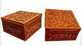 DIY/ Beautiful jewelry box of cardboard/ Wood imitation/Cardboard crafts