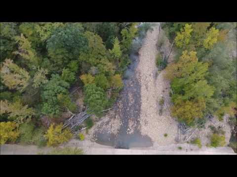 Aerial Oklahoma -  Upper Big Eagle Creek (Water Level Low) LeFlore County, Oklahoma 2016