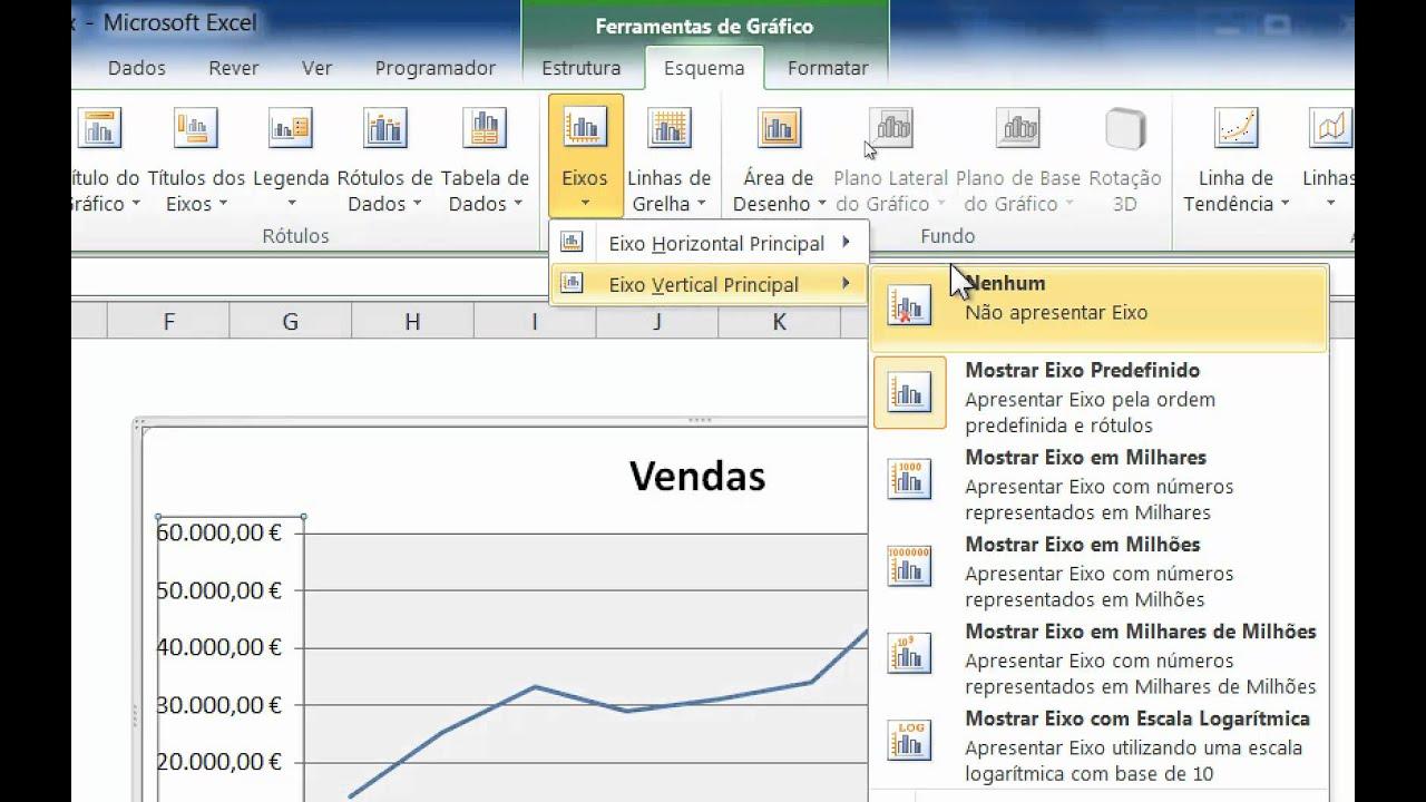 Excel 2010 - Alterar num gráfico as unidades do eixo de