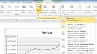 Excel 2010 - Alterar num gráfico as unidades do eixo de valores para milhares