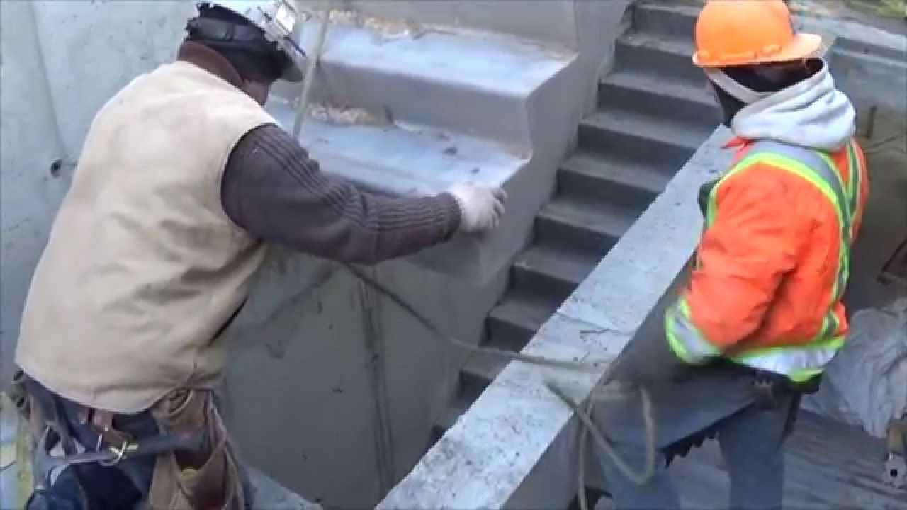 Installation Of Betcalier Precast Concrete Scissor Stairs