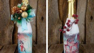 видео Как украсить бутылку шампанского на Новый год 2018 своими руками