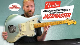 "Unboxing a Fender American Professional II (the sequel) Jazzmaster in ""Sea-Chrome Green"" - I LOVE IT"
