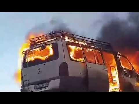 Маршрутка Чита - Борзя полностью сгорела в Забайкалье