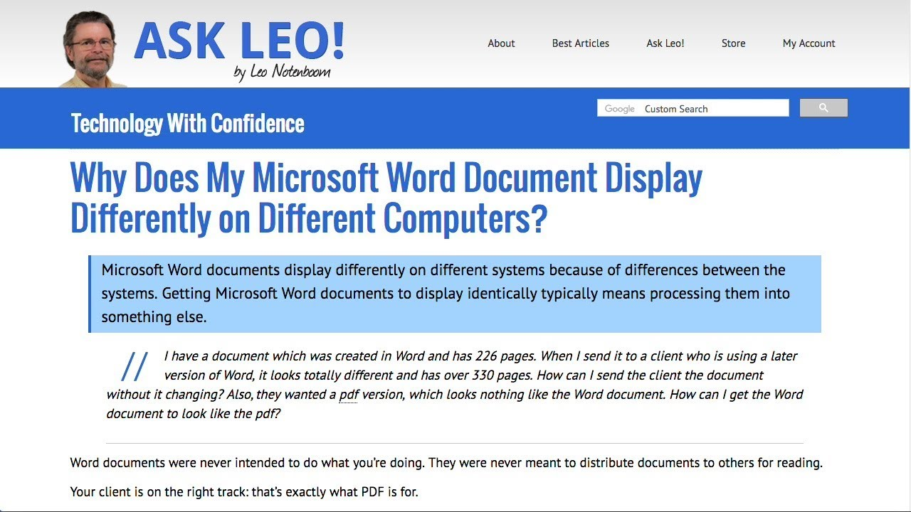 Why Does My Microsoft Word Document Display Differently on