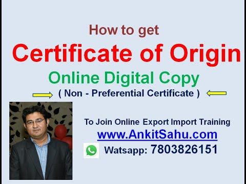Certificate Of Origin - (Non Preferential ) -Online