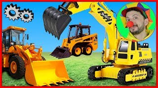 Funny Clown Bob | Construction vehicles Small & Big Excavator Bulldozer Loader | Video for kids