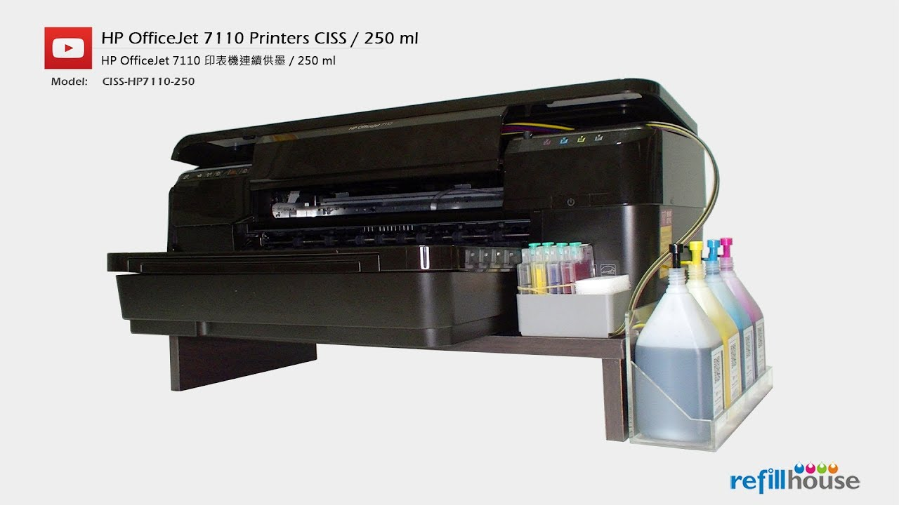 Hp Officejet 7110 Ciss Balance System With 250 Ml Inks Youtube