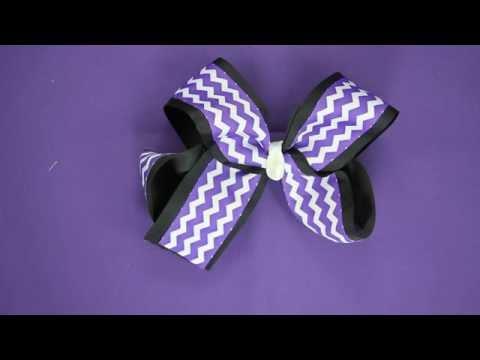 Purple Chevron Black White Hair Bow - video demo