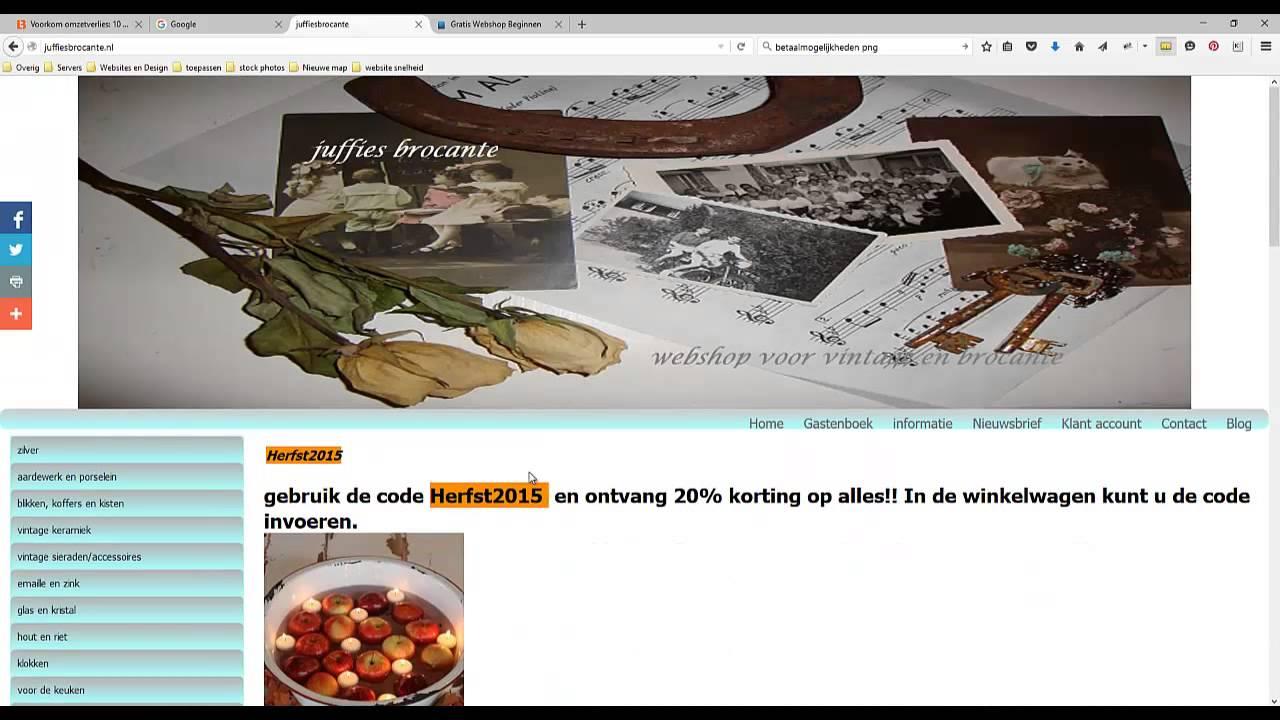 Download Header aanpassingen webshop en teksten aanpassen review juffiesbrocante.nl
