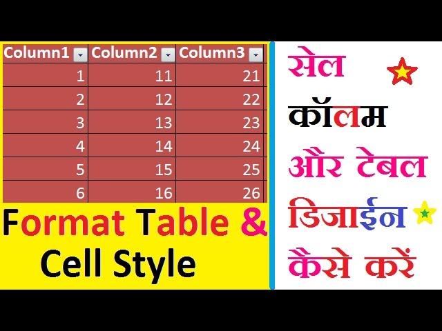 एक्सल में सेल, कॉलम, रो और टेबल डिजाईन कैसे करते हैं ? How To Design Cell, Column, Row and Table ?